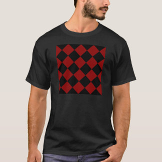 Diag Checkered Large - Black and Dark Red T-Shirt