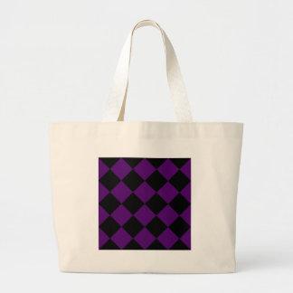 Diag Checkered Large - Black and Dark Violet Large Tote Bag