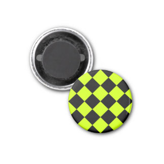 Diag Checkered Large-Black and Fluorescent Yellow 1 Inch Round Magnet