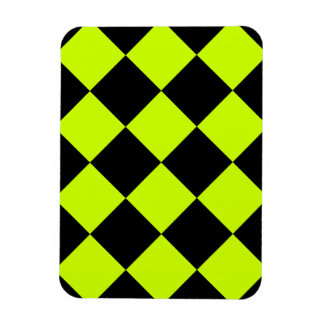 Diag Checkered Large-Black and Fluorescent Yellow Rectangular Photo Magnet