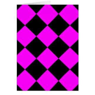 Diag Checkered Large - Black and Fuchsia Card
