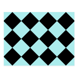 Diag Checkered Large - Black and Pale Blue Postcard
