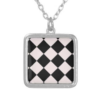 Diag Checkered Large - Black and Pale Pink Square Pendant Necklace