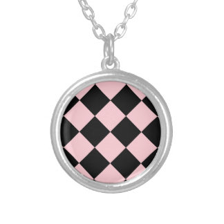 Diag Checkered Large - Black and Pink Round Pendant Necklace