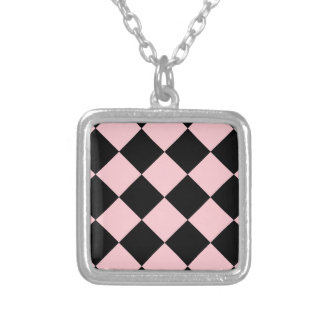 Diag Checkered Large - Black and Pink Square Pendant Necklace