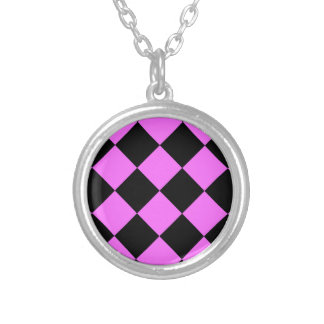 Diag Checkered Large - Black and Ultra Pink Round Pendant Necklace