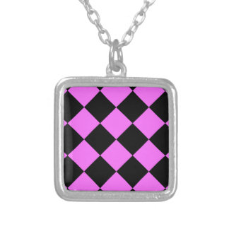 Diag Checkered Large - Black and Ultra Pink Square Pendant Necklace