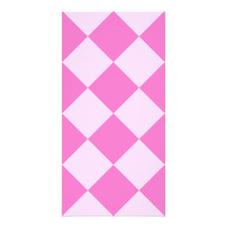 Diag Checkered Large - Light Pink and Dark Pink Personalized Photo Card