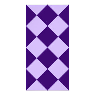 Diag Checkered Large-Light Violet and Dark Violet Photo Card