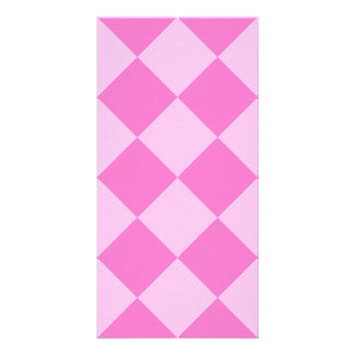Diag Checkered Large - Pink and Dark Pink Picture Card