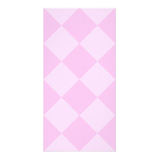 Diag Checkered Large - Pink and Light Pink Photo Cards