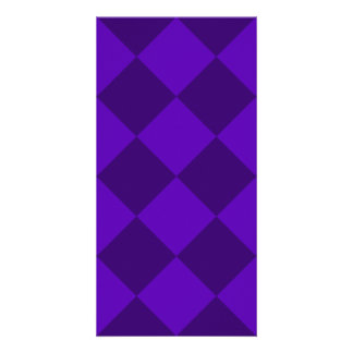 Diag Checkered Large - Violet and Dark Violet Photo Card Template
