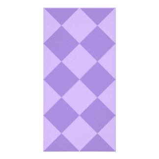 Diag Checkered Large - Violet and Light Violet Photo Card