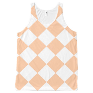 Diag Checkered Large - White and Deep Peach