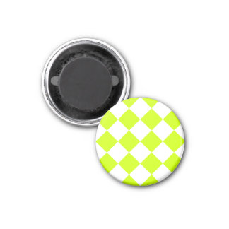 Diag Checkered Large-White and Fluorescent Yellow 1 Inch Round Magnet