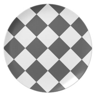 Diag Checkered Large - White and Gray Plate