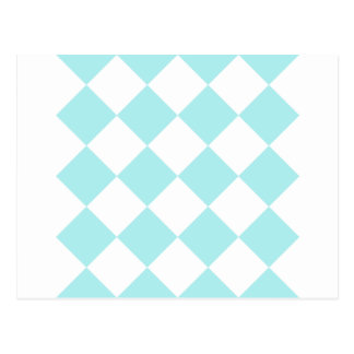 Diag Checkered Large - White and Pale Blue Postcard