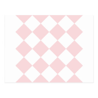 Diag Checkered Large - White and Pale Pink Postcard
