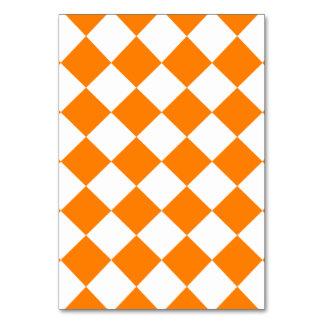 Diag Checkered - White and Orange Table Card