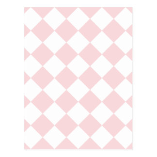 Diag Checkered - White and Pale Pink Postcard
