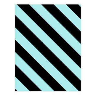Diag Stripes - Black and Pale Blue Postcard