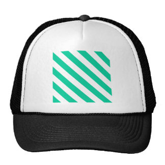 Diag Stripes - White and Caribbean Green Trucker Hat
