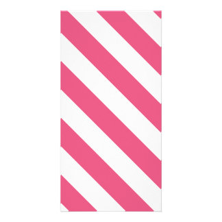Diag Stripes - White and Dark Pink Photo Card Template