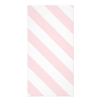 Diag Stripes - White and Pale Pink Photo Cards