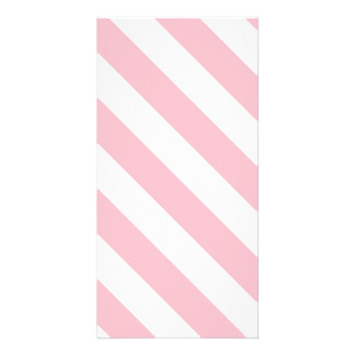 Diag Stripes - White and Pink Custom Photo Card