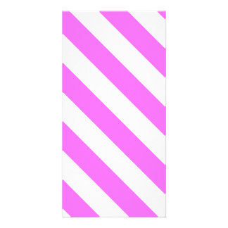 Diag Stripes - White and Ultra Pink Photo Card