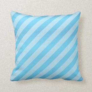 Diagonal Baby Blue Stripe  Pattern Throw Pillow