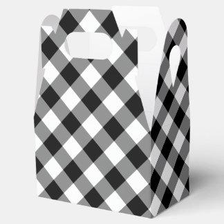 Diagonal Black and White Buffalo Plaid Favor Box