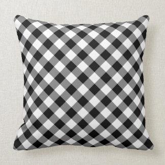 Diagonal Black and White Checked Plaid Throw Pillow