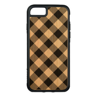 Diagonal Black Gingham Pattern on Cherry Wood Carved iPhone 8/7 Case