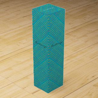 diagonal blue green pattern wine box