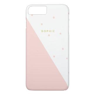 Diagonal Blush Pink Polka Dots iPhone 7 Plus Case