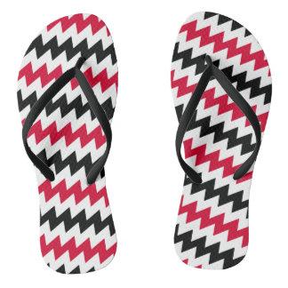 Diagonal chevron stripes flip flops