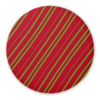 Diagonal Christmas Stripes Ceramic Knob