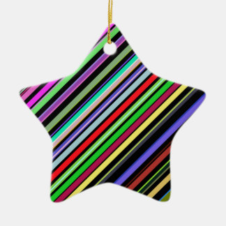 Diagonal Color Stripes Ceramic Ornament