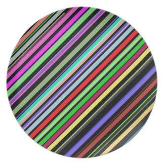 Diagonal Color Stripes Plate