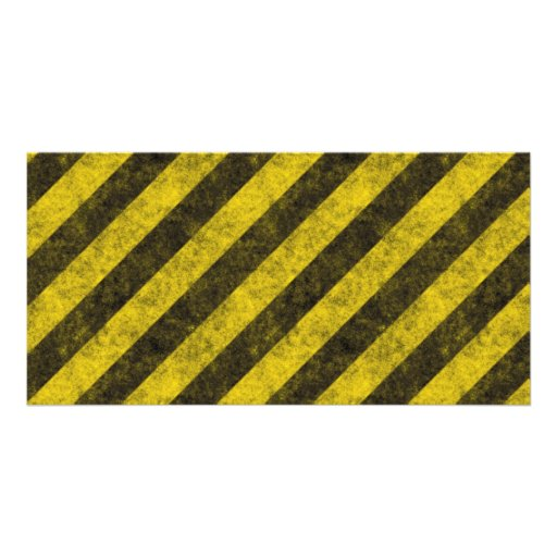 Diagonal Construction Hazard Stripes Photo Card