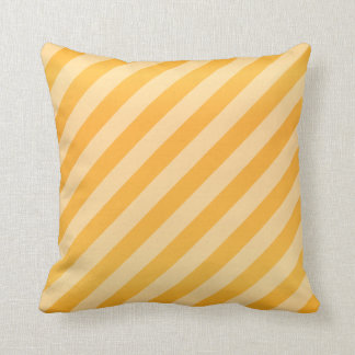 Diagonal Golden Yellow Stripe  Pattern Throw Pillow