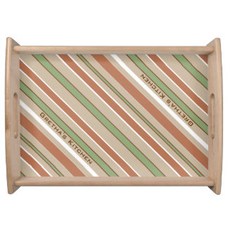 Diagonal Green Stripes with Custom Text Serving Tray