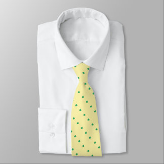 diagonal green uneven spots design pale lemon tie