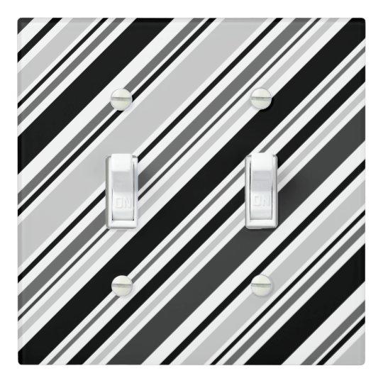 Diagonal Grey, Black, White Stripes Light Switch Cover