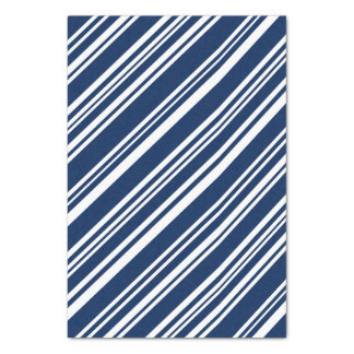 Diagonal Indigo and White Stripes Tissue Paper