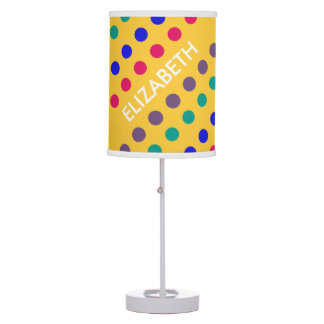 Diagonal Jewel Polka Dots on Yellow Personalized Table Lamp