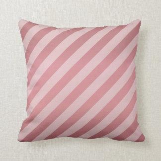 Diagonal Light Dusty Rose  Stripe  Pattern Throw Pillow