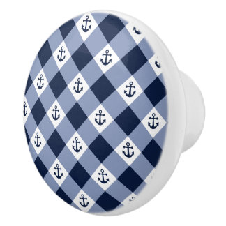 Diagonal nautical checkered gingham pattern ceramic knob