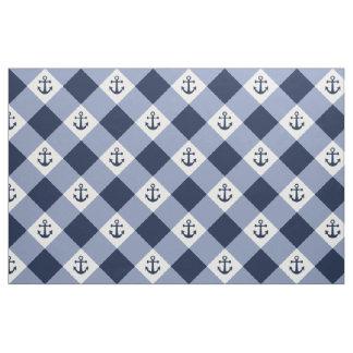 Diagonal nautical checkered gingham pattern fabric